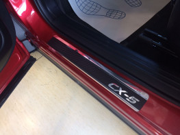 Накладки на пороги из стали MAZDA CX-5 2 2017-2018 carbon, 4шт.