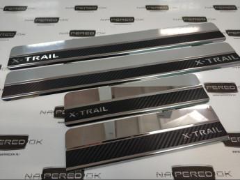 Накладки на пороги из стали NISSAN X-Trail T32 2013-2018 carbon, 4шт.