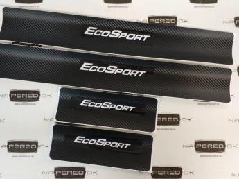 Наклейки на пороги FORD EcoSport 2014-2018 carbon, 4шт.