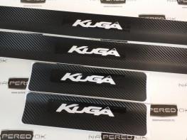 Наклейки на пороги FORD Kuga 2 2016-2018 (рестайлинг) carbon, 4шт.
