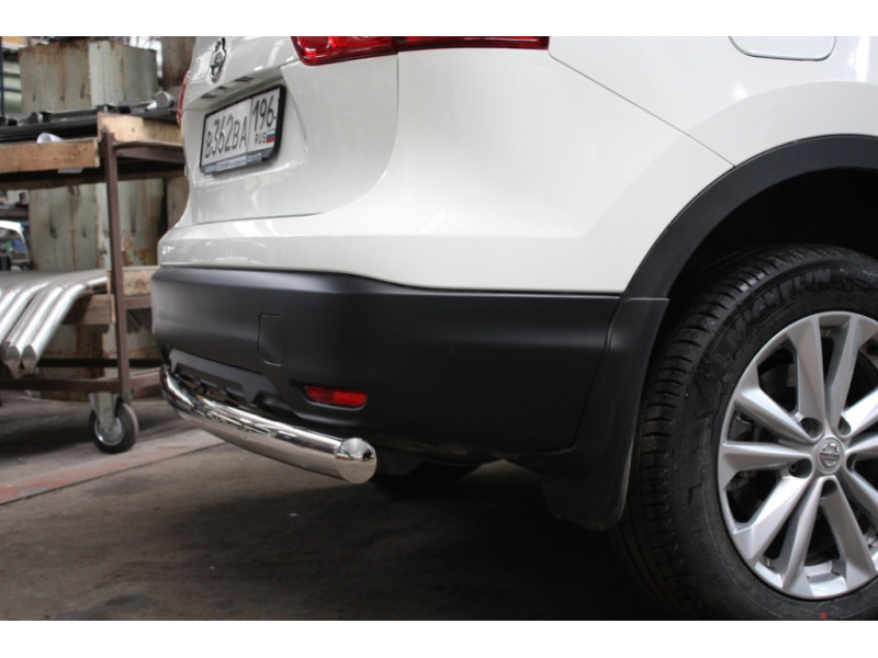 Защита задняя (ОВАЛ) D 75х42 Nissan Qashqai 2014-