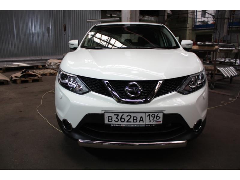 Защита передняя (ОВАЛ) D 75х42 Nissan Qashqai 2014-