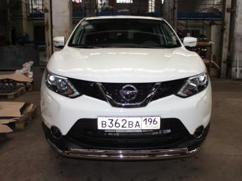 Защита передняя двойная D 60,3/42,4 Nissan Qashqai 2014-
