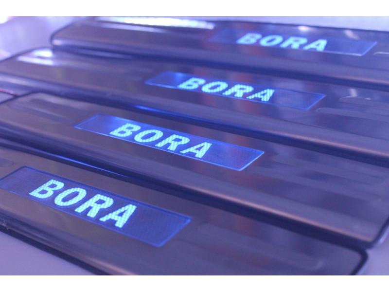 Накладки на пороги из стали с диодной подсветкой Volkswagen Bora.