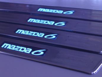 Накладки на пороги из стали с диодной подсветкой Mazda 6.