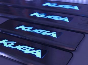 Накладки на пороги из стали с диодной подсветкой Ford Kuga.