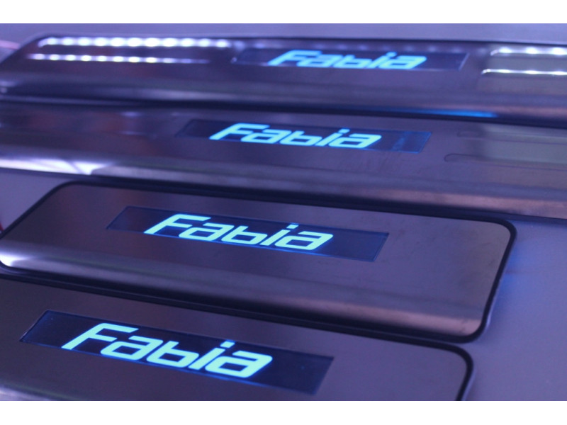 Накладки на пороги из стали с диодной подсветкой Skoda Fabia.