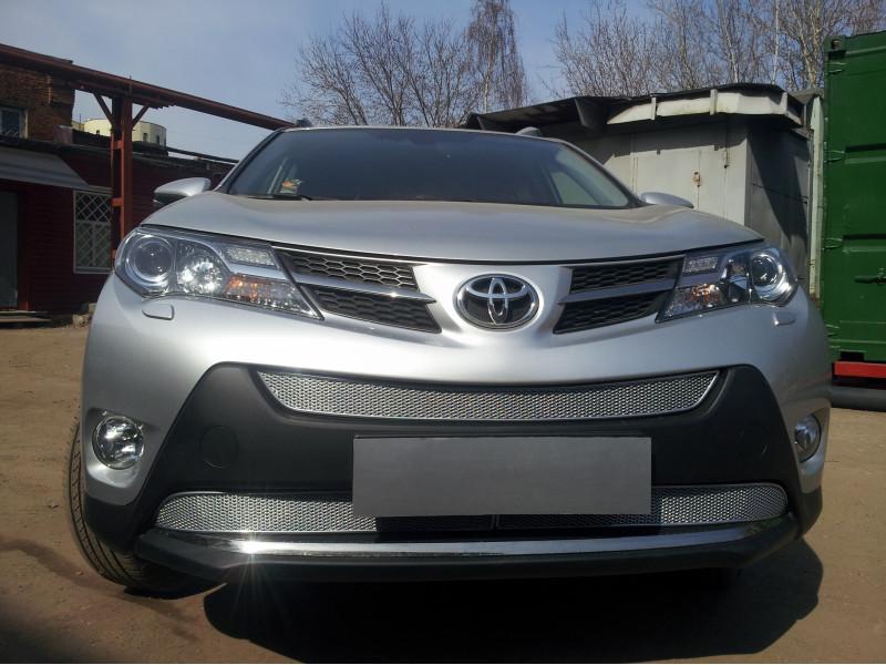 Защита радиатора Toyota Rav 4  2013-2015 (Comfort,Elegance,Prestige) ПРЕМИУМ