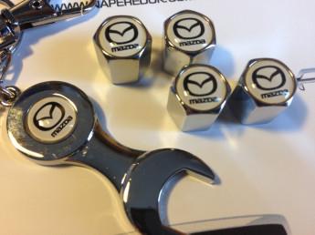 Колпачки на ниппель с логотипом MAZDA white