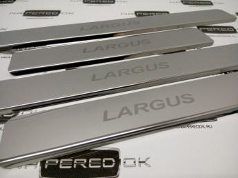 Накладки на пороги из стали LADA Largus 2011-2020, 4шт.