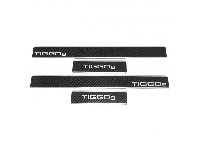 Накладки на пороги из стали CHERY Tiggo 8 2020-2021 (T18) carbon, 4шт.