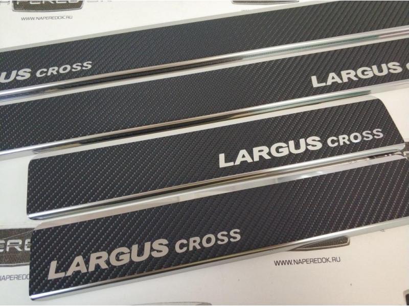 Накладки на пороги из стали LADA Largus Cross 2011-2020 carbon, 4шт.
