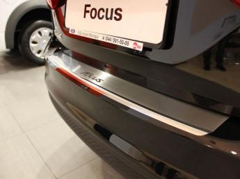 Накладка на задний бампер нерж.сталь с загибом FORD Focus 3 2011-2015 седан