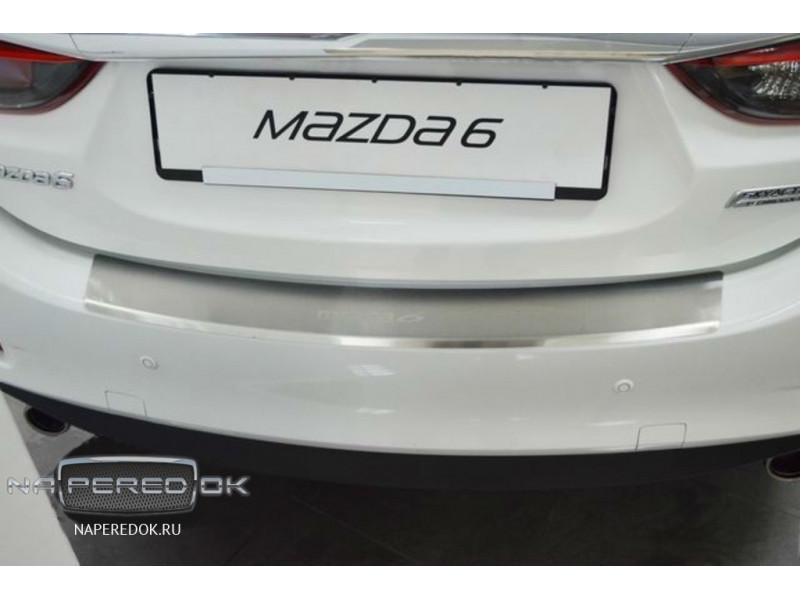 Накладка на задний бампер нерж.сталь с загибом MAZDA 6 2015-2018 (рестайлинг)
