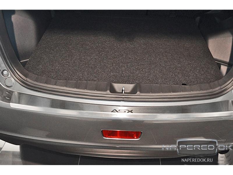 Накладка на задний бампер нерж.сталь с загибом MITSUBISHI ASX 2012-2016 (рестайлинг)