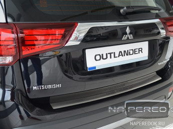 Накладка на задний бампер нерж.сталь с загибом MITSUBISHI Outlander 3 2018-2021 (рестайлинг 3)