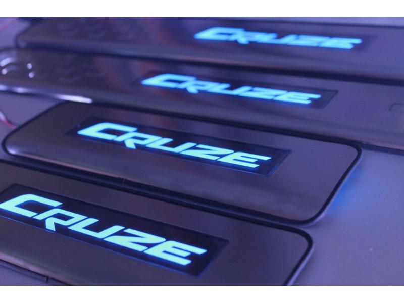 Накладки на пороги из стали с диодной подсветкой Chevrolet Cruze.
