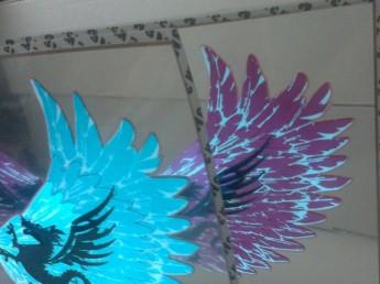 Неоновый эквалайзер на стекло авто «Крылья дракона» размер 60*30 см.
