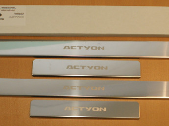 Накладки на пороги из стали SSANG YONG Actyon 2 2010-2013, 4шт.