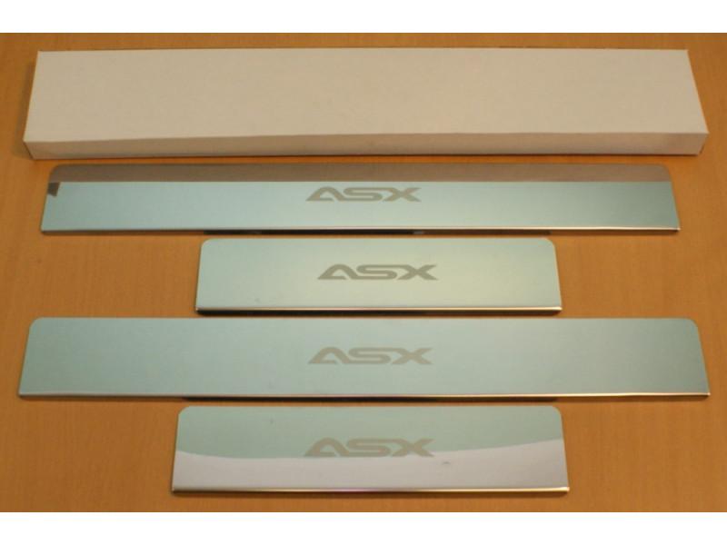 Накладки на пороги из стали MITSUBISHI ASX 2012-2016 (рестайлинг), 4шт.